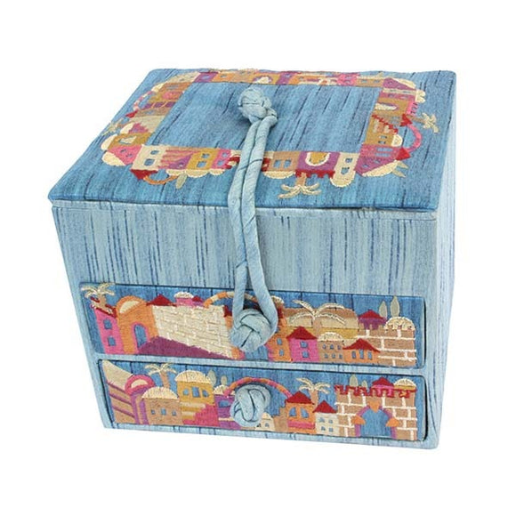 Embroidered Jewelry Box & Two Drawers - Jerusalem Blue