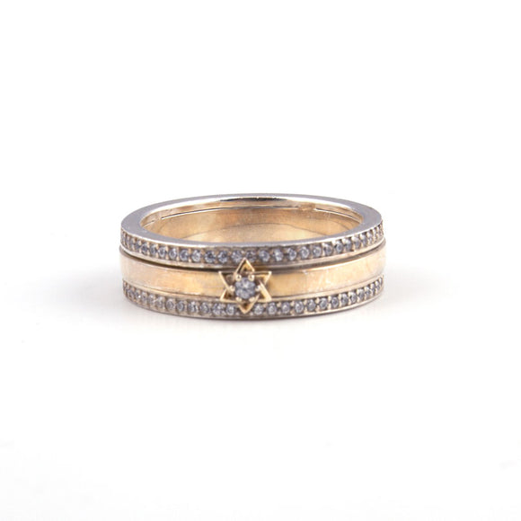Star of David with Swarovsky Crystal Gold & Silver Ring
