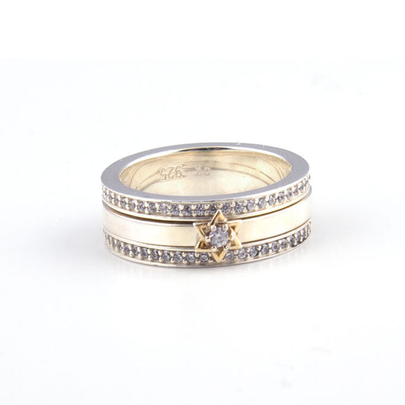 Gold Star of David with Swarovsky Crystal  Gold & Silver Ring