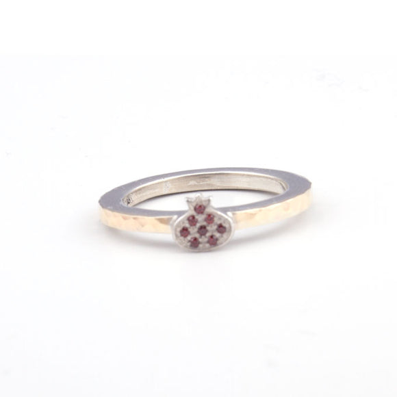 Pomegranate with Swarovsky Crystal  Gold & Silver Ring