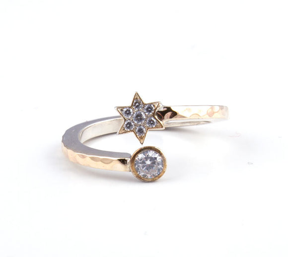 Star of David with Cz and Swarovsky Crystal Gold & Silver Ring