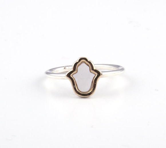Hamsa with White Opal Gold & Silver Ring
