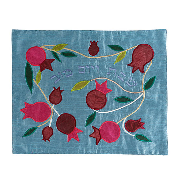Appliqued Challah Cover - Pomegranates - Blue