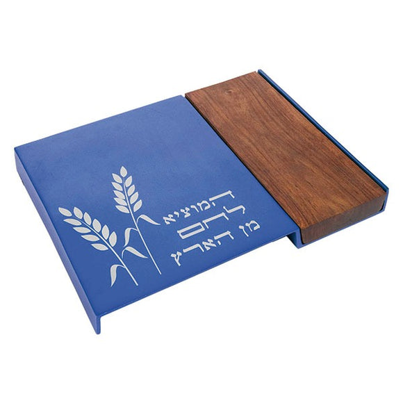 Challah Board - Wood & Aluminium - Blue