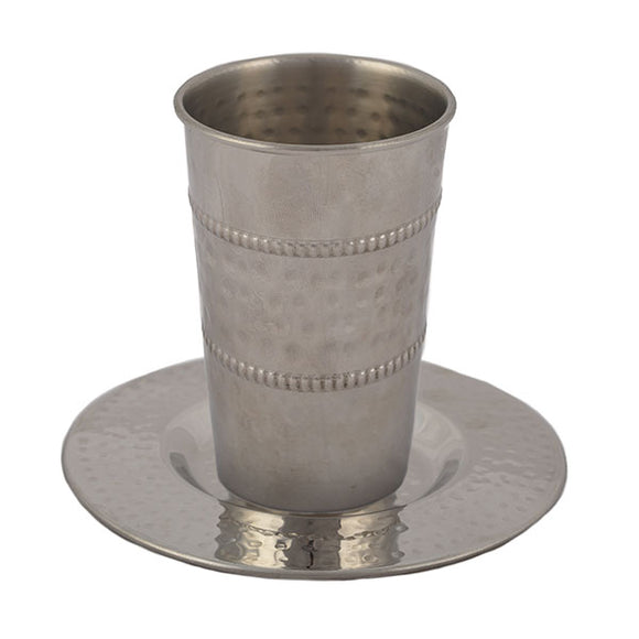 Stainless Steel Kiddush Cup - Hammer Work - Middle Stripe