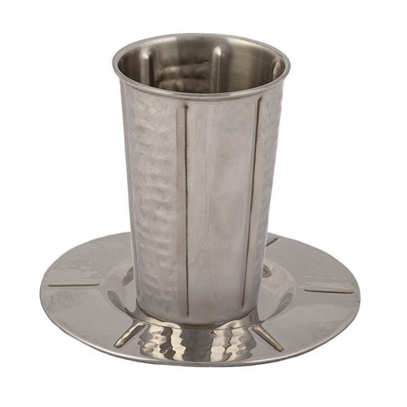 Stainless Steel Kiddush Cup - Hammer Work - Vertical Stripes