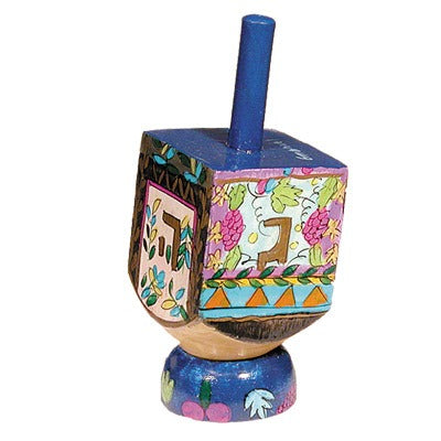 Small Dreidel & Stand - Flowers -