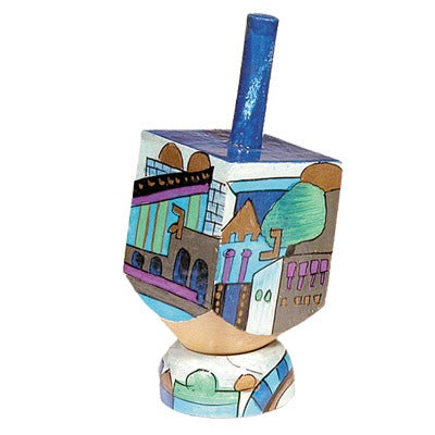 Small Dreidel & Stand - Jerusalem Blue -