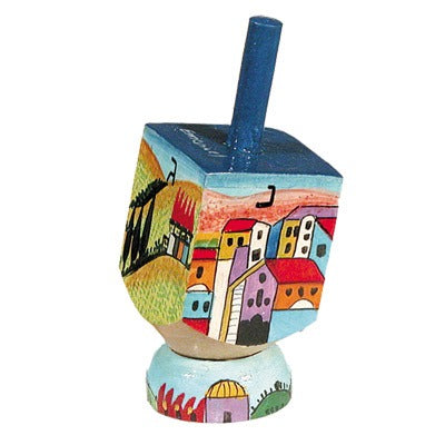 Small Dreidel & Stand - Jerualem View -