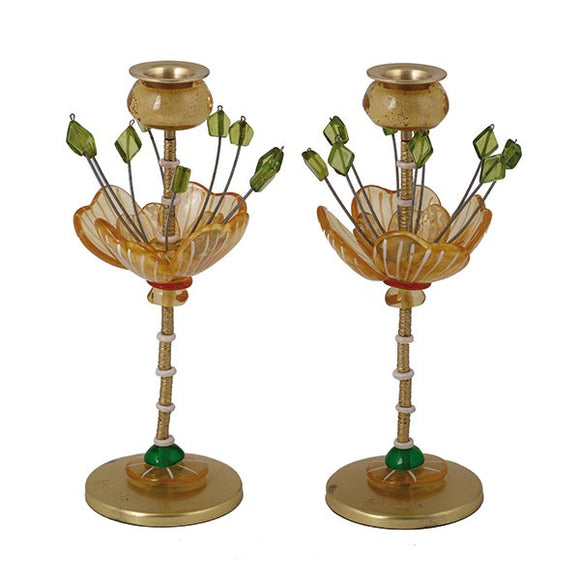 Candlesticks - Polyester - Flower Yellow/Green 25 cm