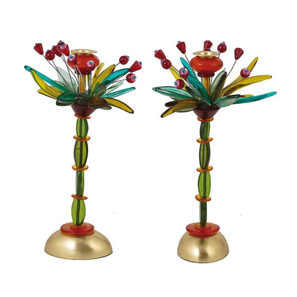 Candlesticks - Polyester - Fountain Green/Red 36 cm