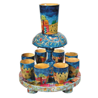 Kiddush Fountain & 8 Cups - Hand Painted Wood - Jerusalem