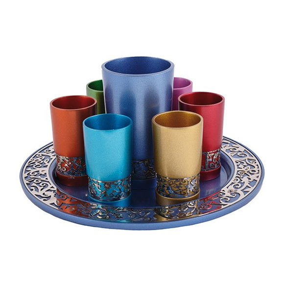 Kiddush Set - Metal Cutout - Multicolored