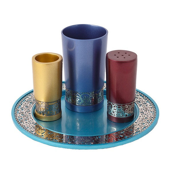 Havdallah Set & Metal Cutout Jerusalem - Multicolored