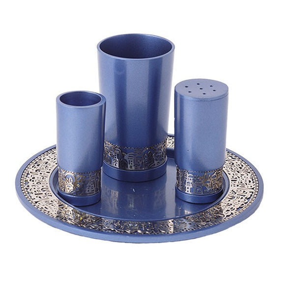 Havdallah Set & Metal Cutout Jerusalem - Blue
