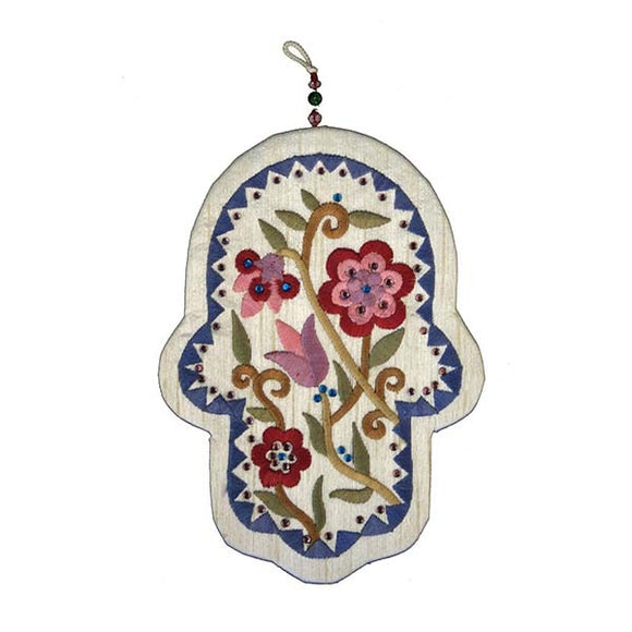 Embroidered Hamsa & Crystals - Large - Flowers