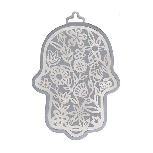Large Silver Hamsa & Metal Cutout - Flowers
