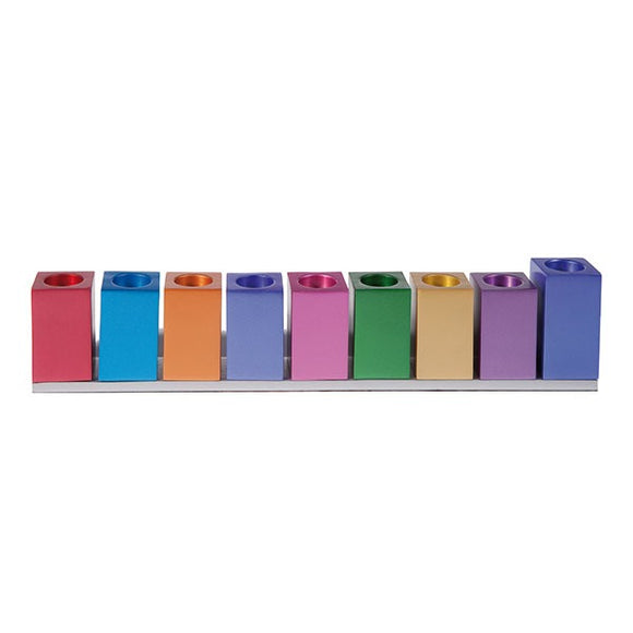 Hanukkah Menorah - Cubes - Multicolored