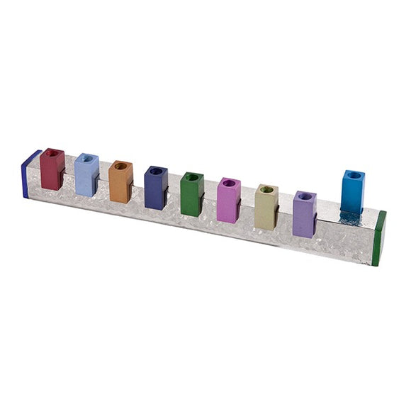 Hanukkah Menorah - Sqaures & Hammer Work - Multicolored