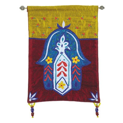Small Wall Hanging Hamsa & Flowers - Gold