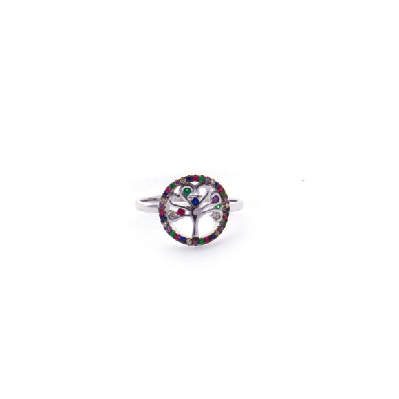 Tree of Life Colorful Stones - Sterling Silver Cutout Ring