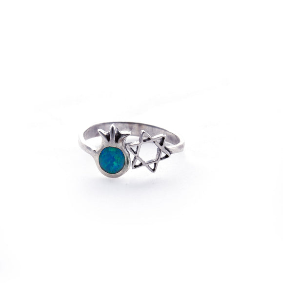 Pomegranate Opal and Star of David Adjustable Sterling Silver Ring