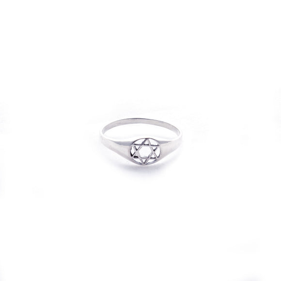 Star of David in Circle Sterling Silver Ring