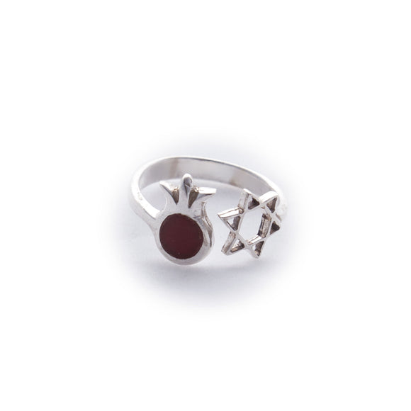 Pomegranate Ruby and Star of David Adjustable Sterling Silver Ring