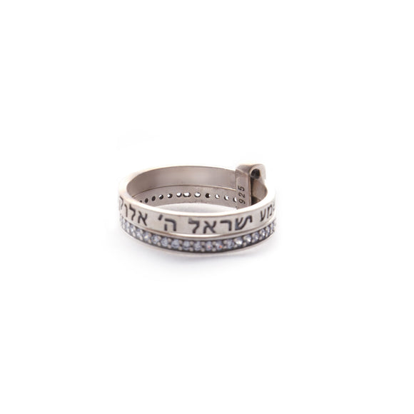 Shema- Swarovski Crystals - Two Piece Stacked Rings - Sterling Silver Ring