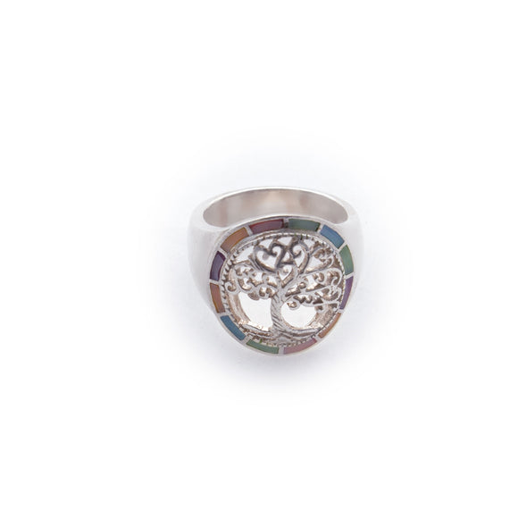 Tree of Life in Pastel Opal Circle Frame- Sterling Silver Cutout Ring