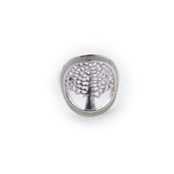 Tree of Life Cutout in White Opal Oval Sterling Silver Ring