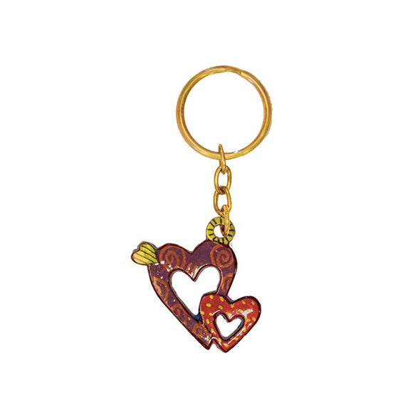 Key Chain Holder - Hand Painted - Hearts