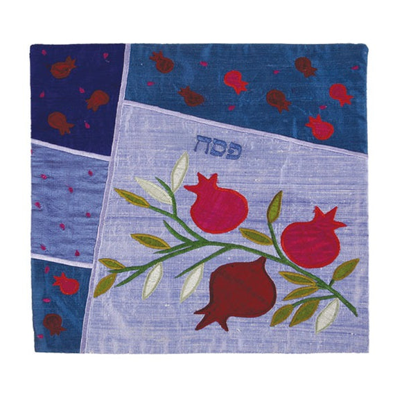 Matzah Cover - Appliqued - Pomegranates - Blue