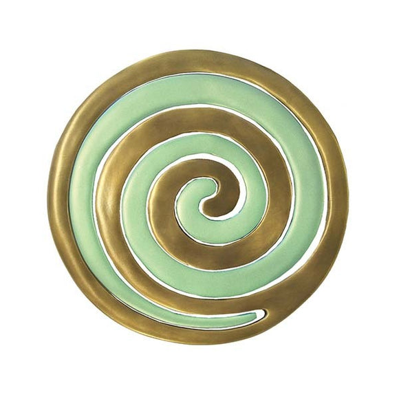 Trivet - Two Pieces - Spiral Gold & Green
