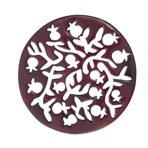 Trivet - Hand Painted - Pomegranates - Red