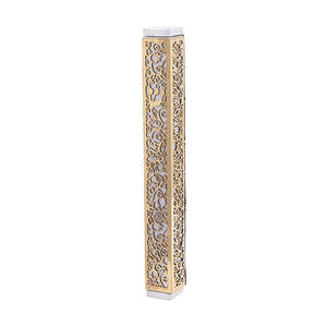 Mezuzah & Full Metal Cutout - Pomegranates - Brass