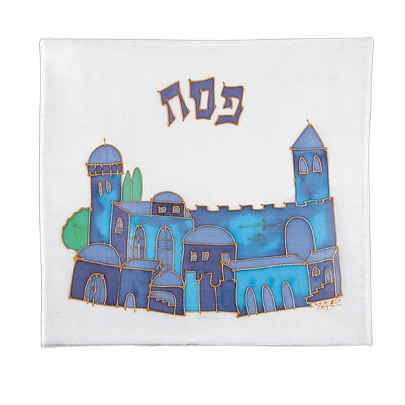 Matzah Cover - Hand Painted Silk - Style 16