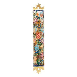 Mezuzah Etching - Pomegranates - Multicolored