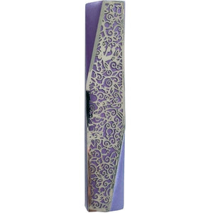 Mezuzah - Geometric - Pomegranates - Purple
