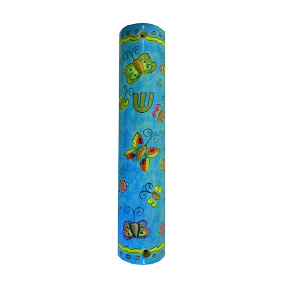 Large Wooden Mezuzah - 12 cm - Butterflies