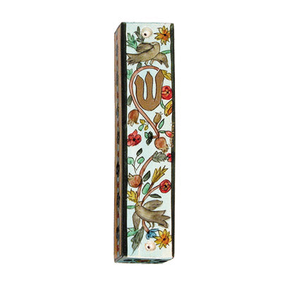 Small Wooden Mezuzah - 10 cm - Birds