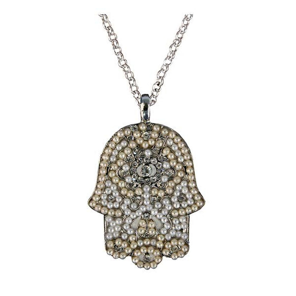 Necklace - Large Hamsa - White & Silver