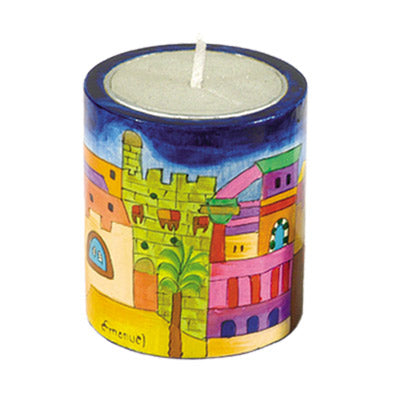 Memorial Candle Holder & Candle - Hand Painted Wood - Jerusalem