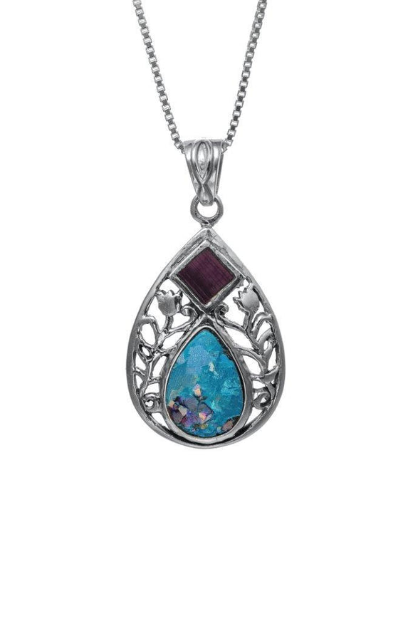 Nano Sim NT Silver Pendant - Drop and Floral Decoration Studded with Roman Glass - The Peace Of God
