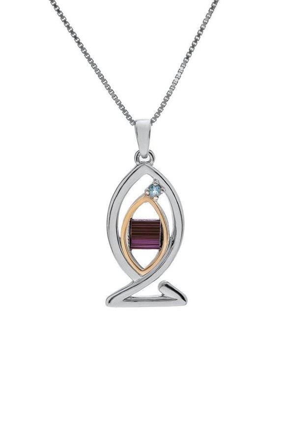 Nano Sim NT Silver and 9K Gold Pendant - Ichthys studded with Blue Topaz Stone - The Peace Of God