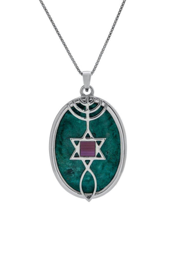 Nano Sim NT Silver Pendant - The Messianic symbol Studded with Eilat Stone - The Peace Of God