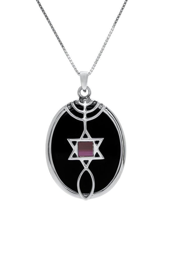 Nano Sim NT Silver Pendant - The Messianic symbol Studded with Onyx Stone (Front and Back) - The Peace Of God