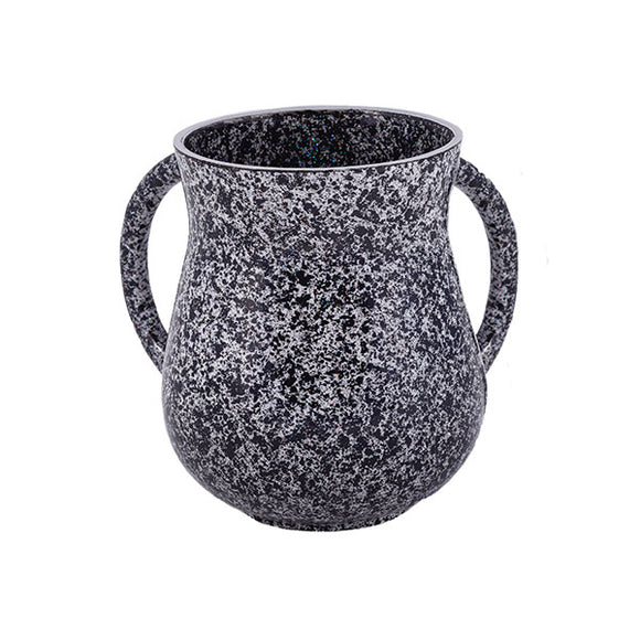 Small Netilat Yadayim Cup - Marble Coated - Black