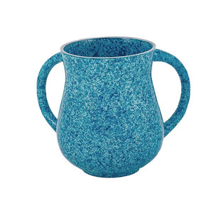 Small Netilat Yadayim Cup - Marble Coated - Light Blue