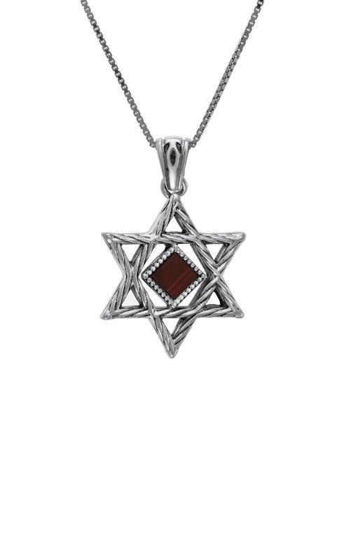 Nano Sim OB Silver Pendant - Star of David with Rope-Shaped Finishing - The Peace Of God